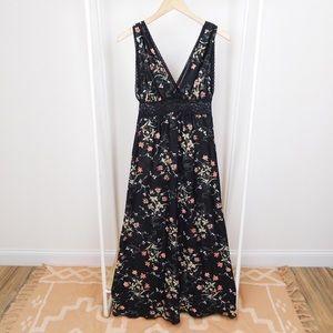 Vintage Black Floral V Neck Slip Dress